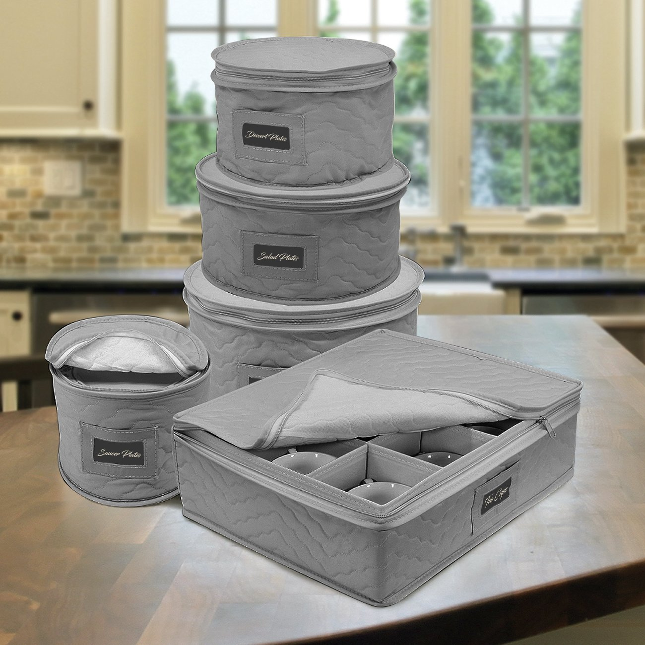 Sorbus Dinnerware Storage 5-Piece Set for Protecting or Transporting Dinnerware — Service for 12 — Round Plate and Cup Quilted Protection, Felt Protectors for Plates, Fine China Case (Gray) by Sorbus (Image #2)