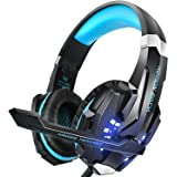 PS4 Headset, INSMART PC Gaming Headset Over-Ear Gaming Headphones with Mic LED Light Noise Cancelling & Volume Control for Laptop Mac Nintendo Switch New Xbox One PS4 (3.5mm Stereo Y Audio Splitter Included)