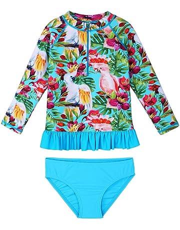 fcbb153ec6 TFJH E Girls Swimsuit UPF 50+ UV Kids Two Piece Swimwear Sunsuit 2-6