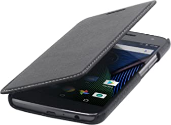 StilGut Book Type Case, custodia in pelle per Lenovo Moto G5 Plus