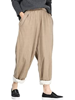 9a3e96040c80 Women's Cotton Linen Pants Cropped Wide Leg Baggy Tapered Capri ...