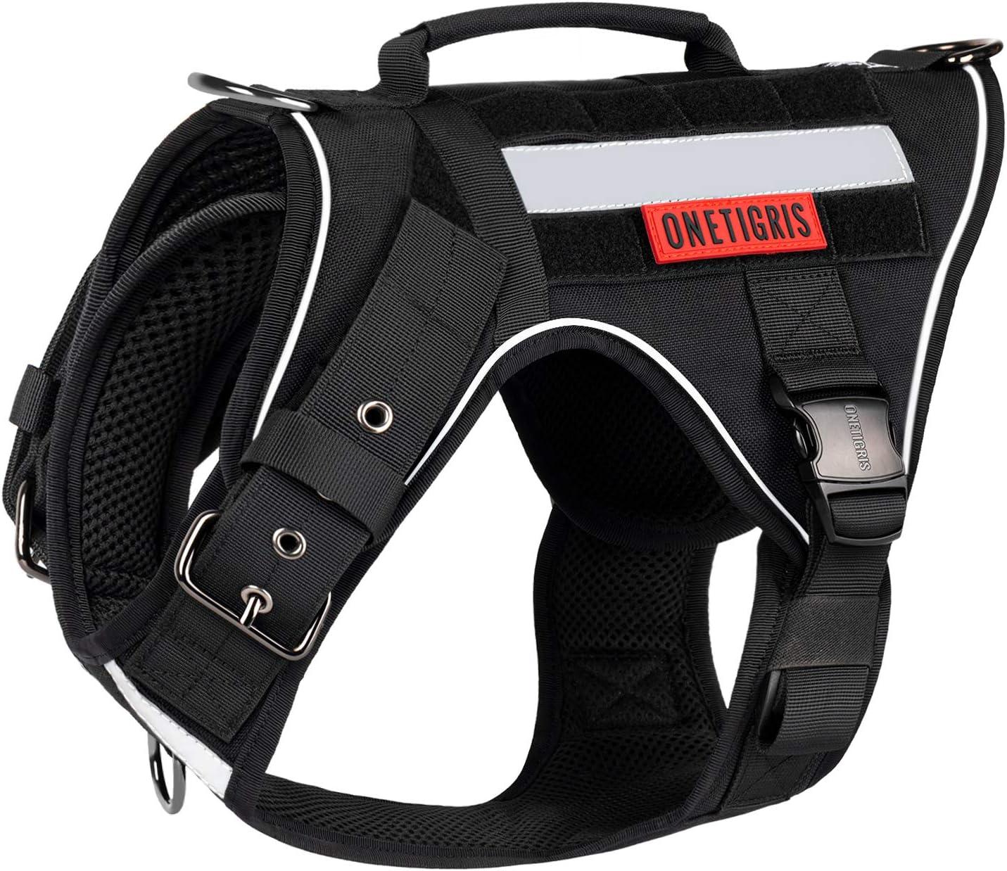OneTigris K9 FIRE Tanker - Arnés táctico para perro con 3 asas y hebillas de metal (M, negro)