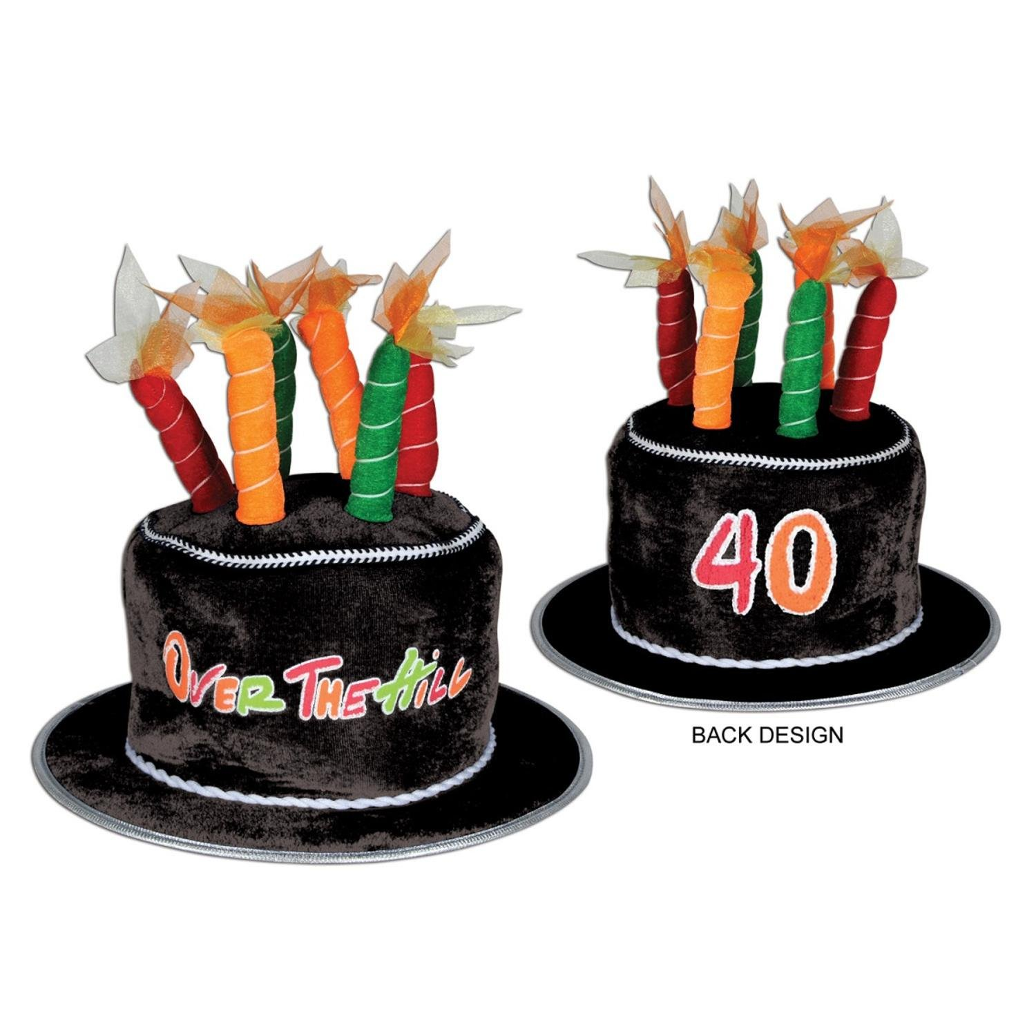 Pack of 6 Festive Multi-Colored Plush ''40'' Over the Hill Cake Party Hats by Party Central