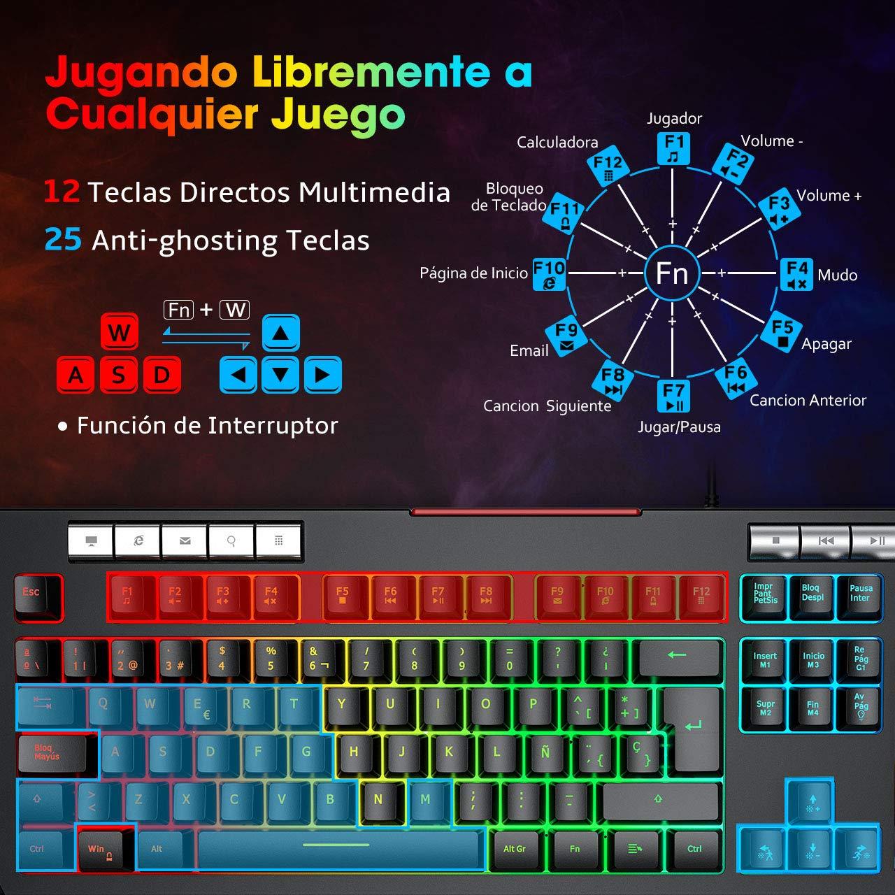 PICTEK Teclado Gaming RGB con Soporte para Teléfono Móvil, Rueda ...