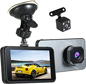 "KKmoon Dash Cam Front and Rear, Dual Dash Cam 4"" Dashboard Camera, 1080P FHD Car DVR Car Driving Recorder, Loop-Cycle Recording