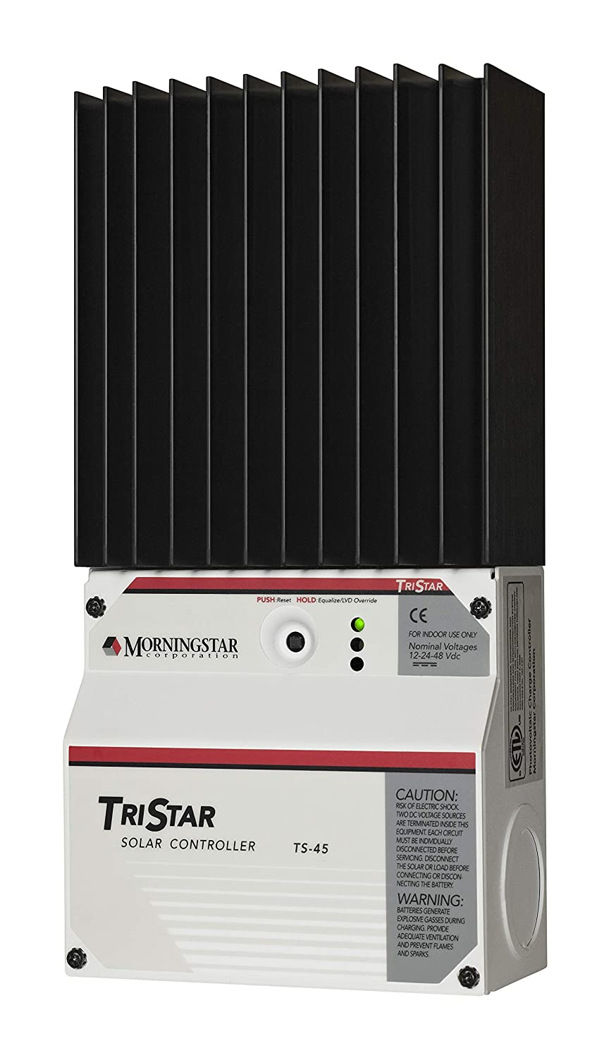 Morningstar TS-45 TriStar 45 Amp 12-48V PWM Solar Controller Extensive Electronic Protections Ratings to 45A at 12VDC Communications Capability Fully Adjustable Programmable Lighting Control