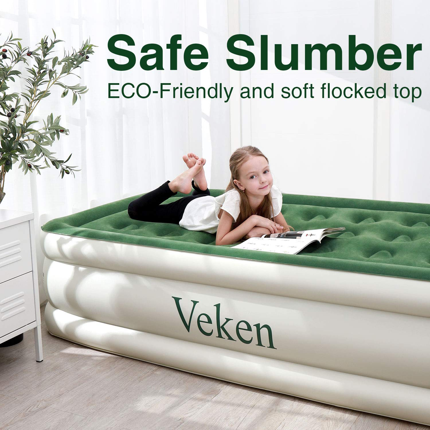 Veken Twin Air Mattress with Built-in Pump, Inflatable 18 Double Height Elevated Airbed with Flocked Top, Best Air Mattresses for Guests, Family, 2-Year Guarantee