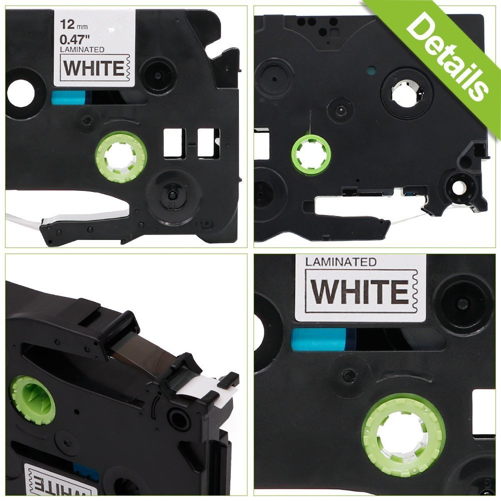 2x Nastro Cassette Etichette Nero su Bianco 12mm x 8m Stampanti Brother TZe-231 TZ-231 per Tze Tape Brother P-Touch PT-1000 1230 2030 1850 GL-H100