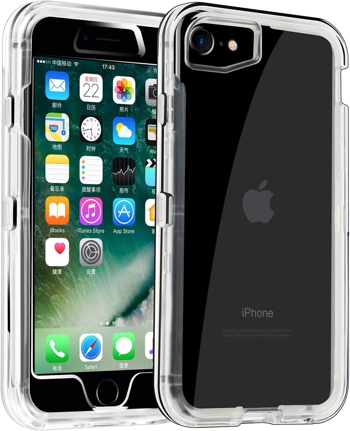 Co-Goldguard Case for 2020 iPhone SE//iPhone 7 Case Clear iPhone 8 Cover NO Screen Heavy Duty Hybrid Dual Layer Hard Shockproof Shell TPU Bumper Protective Case Designed Crystal Black