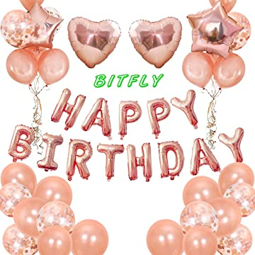 BIT.FLY Birthday Party Balloons Kits, Thicken Rose Gold Confetti Latex Balloons Letter Foil Mylar Helium Ballon for Party Supplies Party Decorations with Decorating Strip