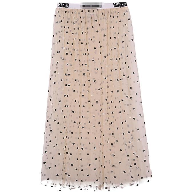 Amazon.com: AS503anakla Fashion Perspectiva Malha pista saias de gaze cintura alta See through Voile de bolinhas saia longa saia: Clothing