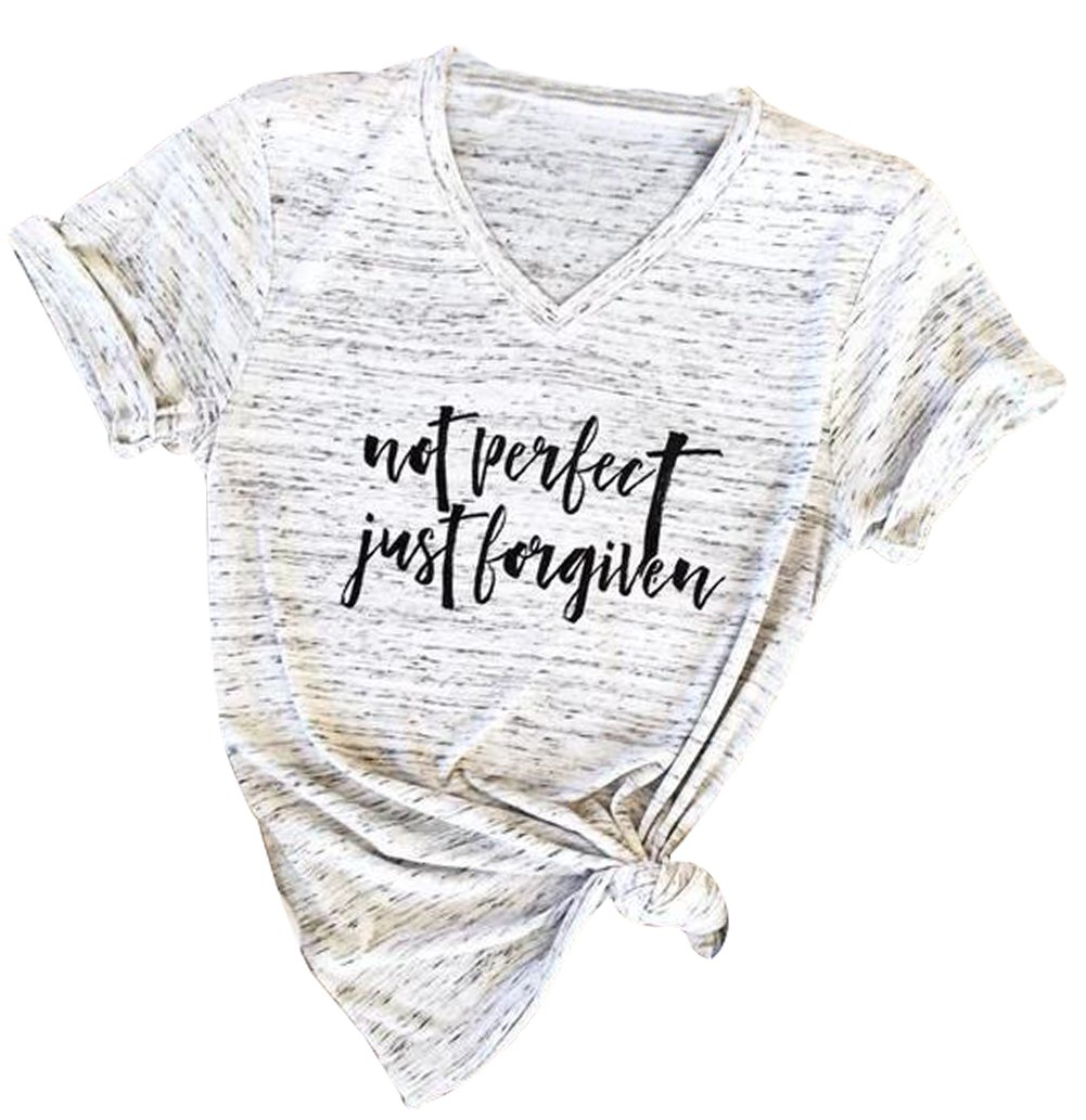Not Perfect Just Forgiven Christian Funny T-Shirt Women's Short Sleeve V Neck Tee Tops Size M (White)