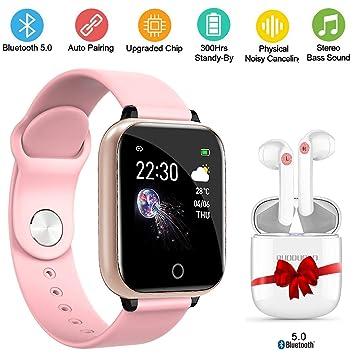 Smartwatch y Bluetooth Auriculares, Reloj Inteligente Pulsera Deportiva Monitor Impermeable Bluetooth Multifunción Presión Arterial Frecuencia ...