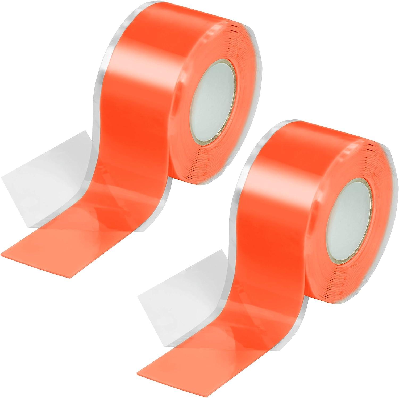 Poppstar - Cinta de silicona de autofusión, 2 x 3 m, ideal como cinta de reparación, cinta aislante y cinta de sellado (estanca, hermética), 25mm de ancho, color naranja
