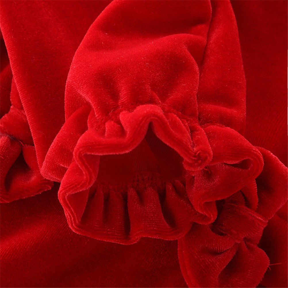 UWESPRING Baby Girls Fleece Romper Red Snap Up Bowknot Thin