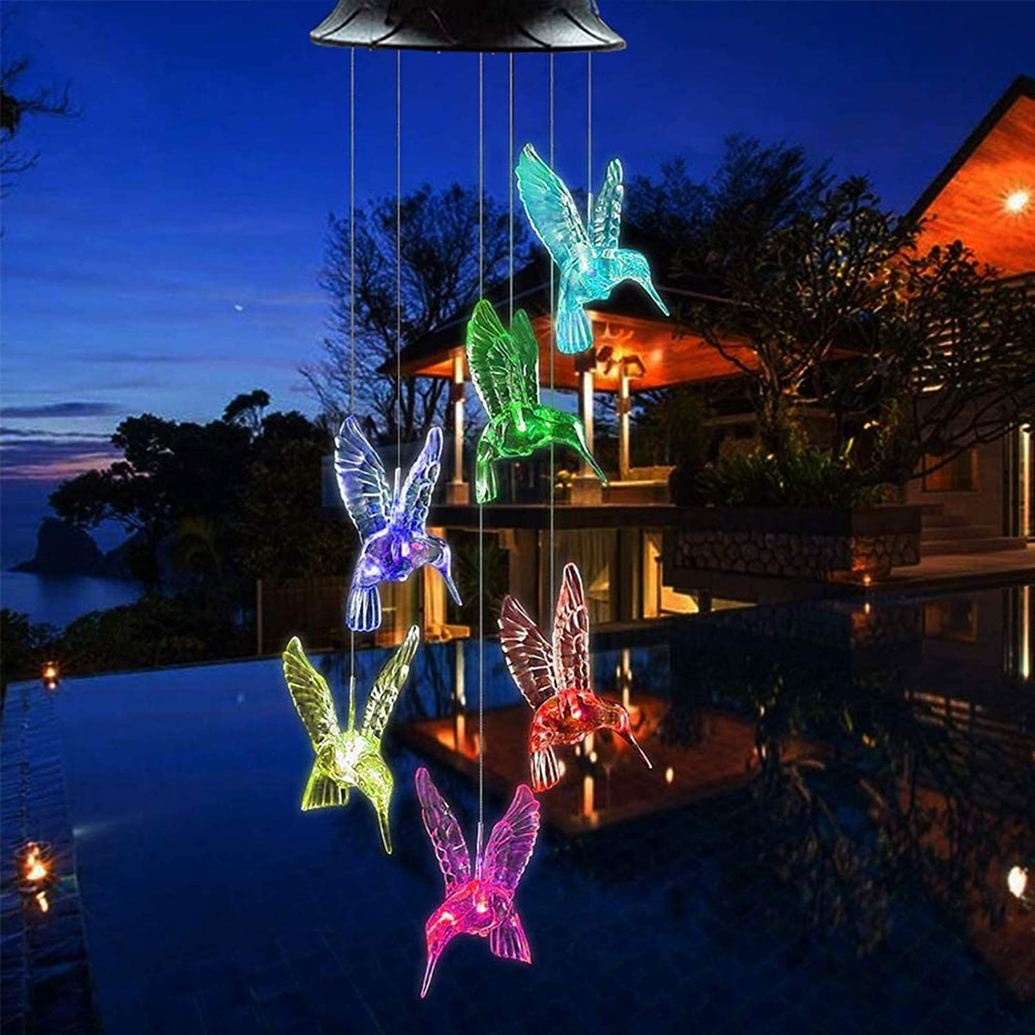 Solar Hummingbird Wind Chimes, Color Changing Solar Wind Chime Outdoor Waterproof Hummingbird LED Solar Lights, for Home/Yard/Night/Garden