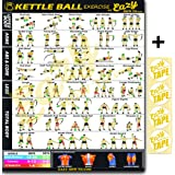 "Eazy How To Kettlebell Exercise Workout Banner Poster BIG 28 X 20"" Train Endurance, Tone, Build Strength & Muscle Home Gym Chart"