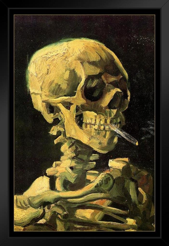 Vincent Van Gogh Skull of A Skeleton with Cigarette Art Print Framed Poster 14x20 inch - Superior quality 14x20 inch frame (exterior dimensions) with 12x18 (31x31 cm) artwork. All framed wall art includes thick UV-blocking acrylic and a rigid backing to protect your art prints from sunny windows and add elegance. The 1.5 inch wide black composite wood moulding ensures your home wall decor has never looked this good! Framed posters are assembled by hand before carefully packing for shipping. Our curated Amazon Collection of both officially licensed and custom designed framed art prints are perfect to use as gifts for Christmas, weddings, birthdays or housewarming celebrations. If you know someone with a bedroom, kitchen, office, or even a hotel room, they could probably use a decorative painting or print - framed posters can also easily be rotated seasonally! With over 10,000 options, we make it easy to find the framed home decor thats exactly right for you or someone special. - wall-art, living-room-decor, living-room - 71lXjlw ihL -