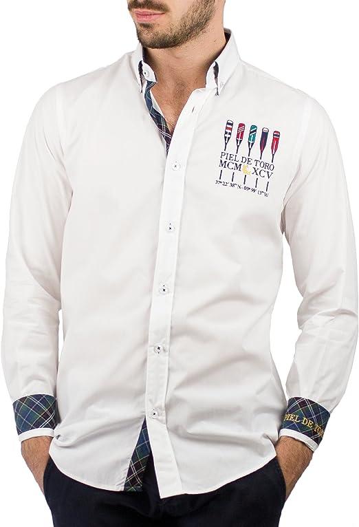 Piel de Toro Regular FIT Bordados Remo Camisa Casual, Blanco (Blanco 13), Small (Tamaño del Fabricante:S) para Hombre: Amazon.es: Ropa y accesorios