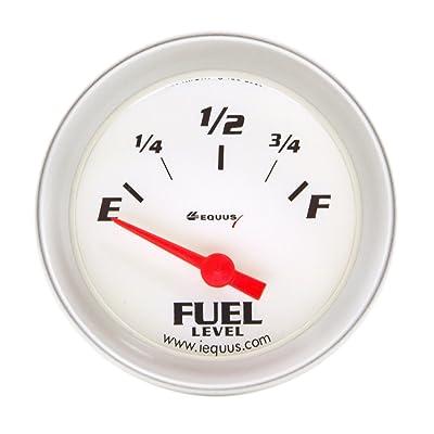 """Equus 8361 2"""" Fuel Level Gauge, White with Aluminum Bezel: Automotive"""