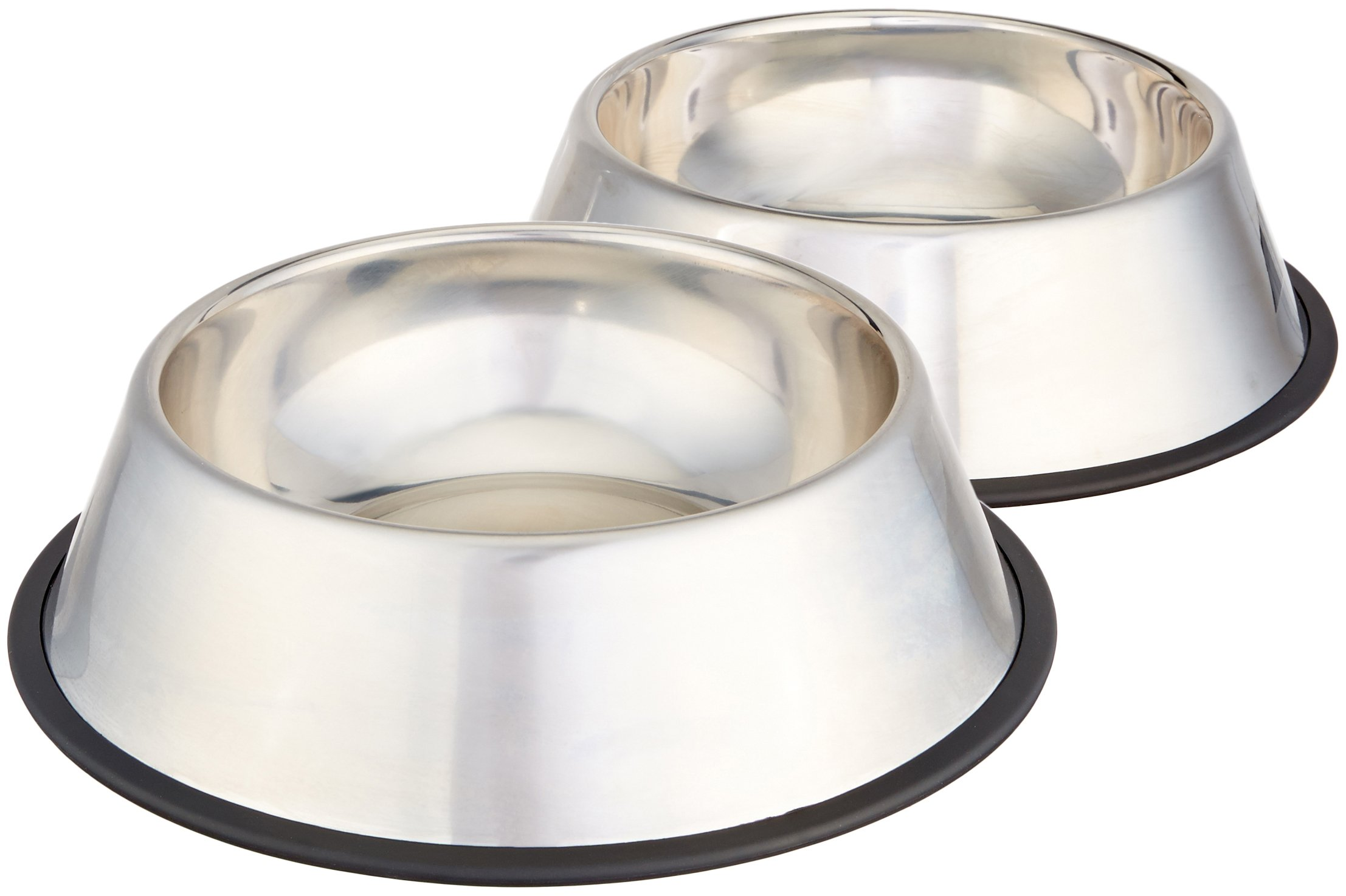 AmazonBasics Stainless Steel Pet Dog Water And Food Bowl - Set of 2, 11 x 3 Inches by AmazonBasics