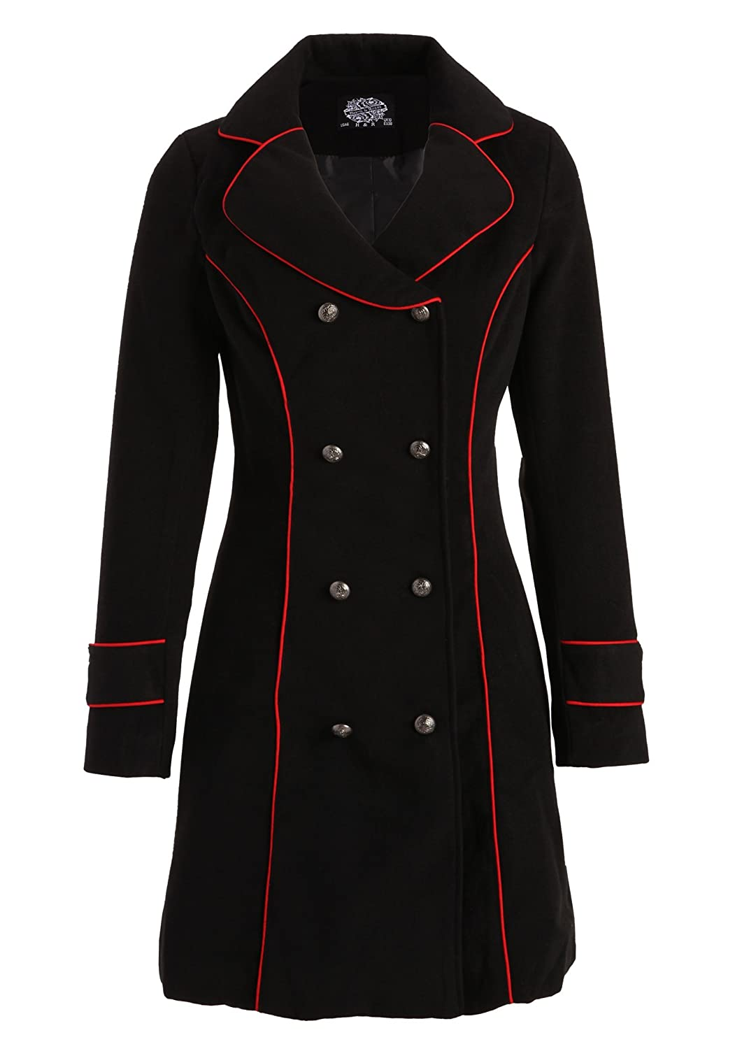 Vintage Coats & Jackets | Retro Coats and Jackets Black Retro Vintage Military Winter Jacket Coat with Red Piping $79.90 AT vintagedancer.com