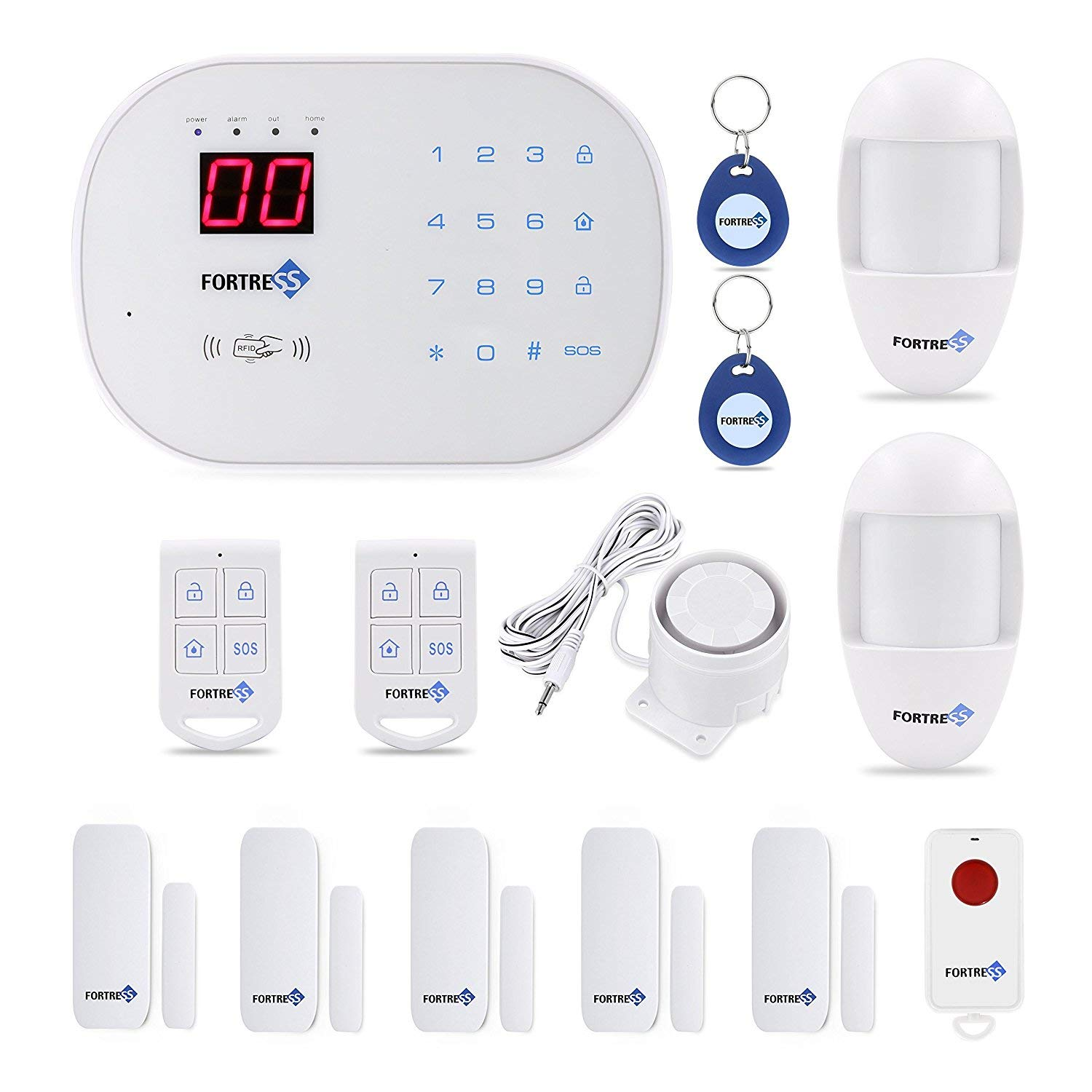 Fortress Security- Classic home security system with optional 24/7 professional monitoring - No contracts - Wireless 14 piece security kit - Compatible with Alexa - DIY home security by Fortress Security Store