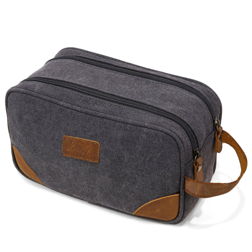Mens Bathroom Travel Bag Grooming Shaving Bags for Men Dopp Kits Vintage Canvas Leather Dob Kit Toiletry Hygiene Bag Double Zipper Compartments for Traveling Kemy's, Grey, Large, College Student Gift