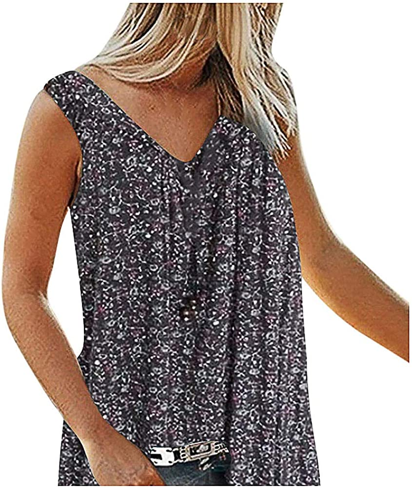 Women Lace Floral Sleeveless Tops V-Neck Solid Loose Plus Size Summer Tank Tops Blouse