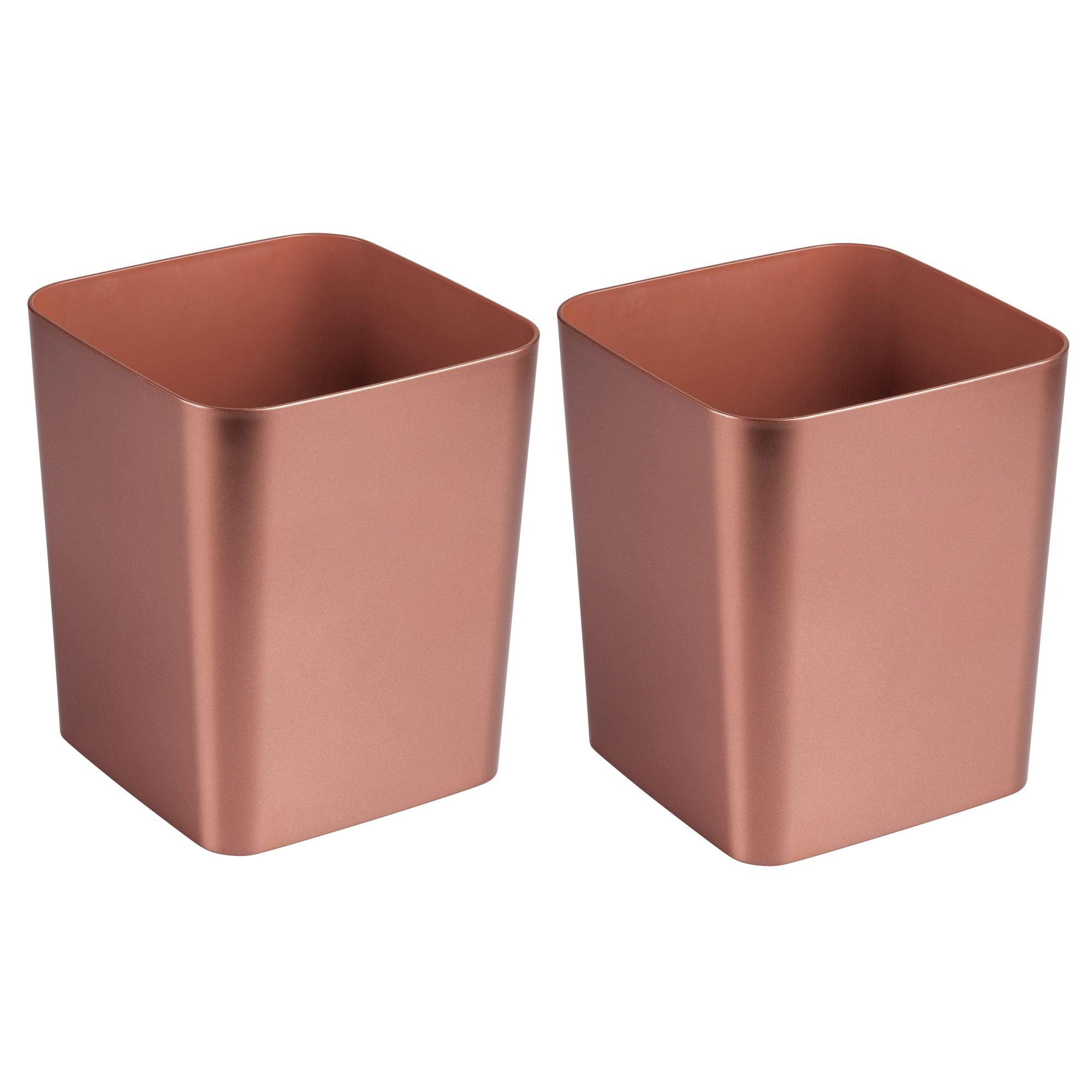mDesign Square Shatter-Resistant Plastic Small Trash Can Wastebasket, Garbage Container Bin for Bathrooms, Powder Rooms, Kitchens, Home Offices - Pack of 2, Rose Gold Finish