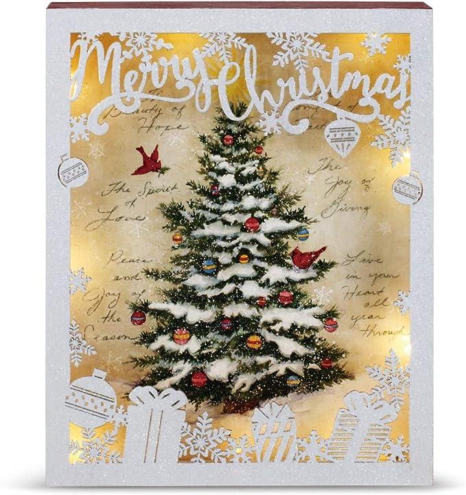 Demdaco Christmas Tree Shadow Box Lit Winter White 10 X 8 Wood Decorative Sign Home Kitchen Amazon Com