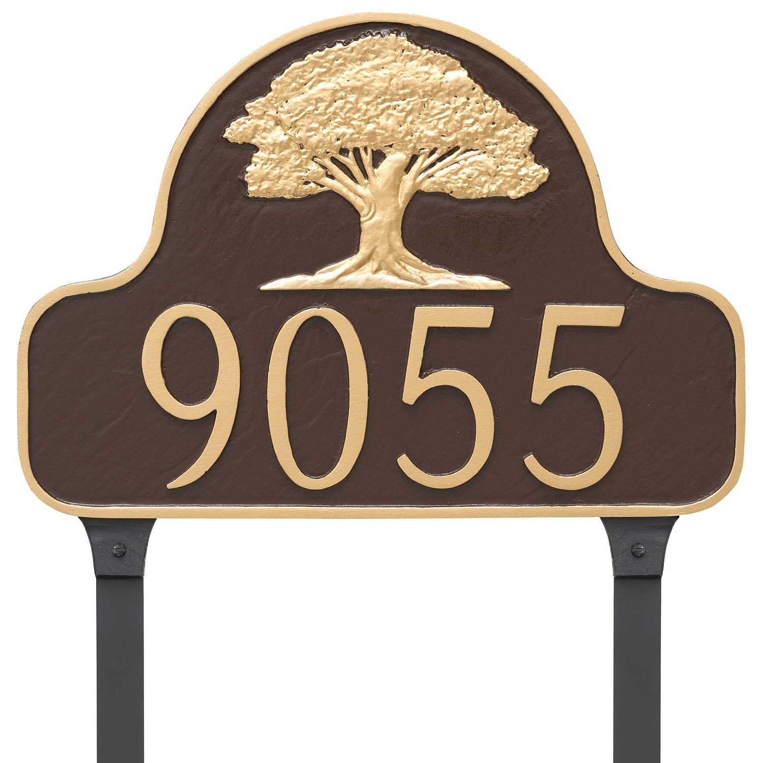 Montague Metal Oak Tree Arch Address Sign Plaque with Lawn Stakes, 11'' x 16'', Aged Bronze/Gold