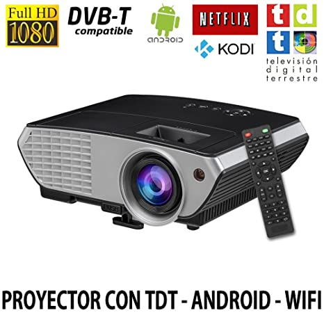 Luximagen SV350NEGRO, Proyector con WIFI, Android, TV TDT, USB, HDMI,