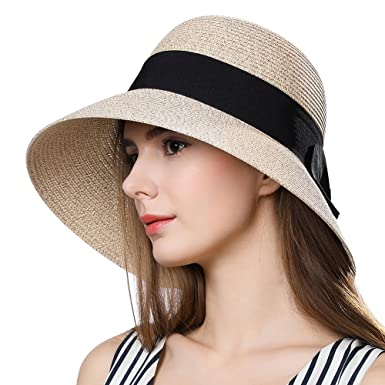579d20caa3d6b Packable Straw Fedora Sun Cloche Panama Hat for Small Head Women Beach SPF  50 Floppy Beige