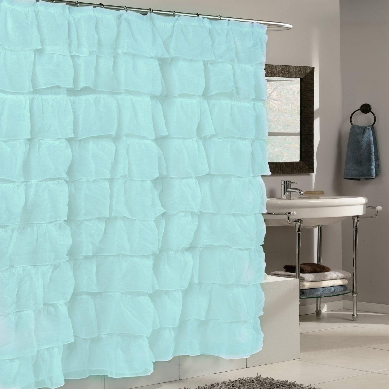 Hot Sale 2017 1 Piece Aqua Spa Blue Gypsy Ruffle Shower Curtain