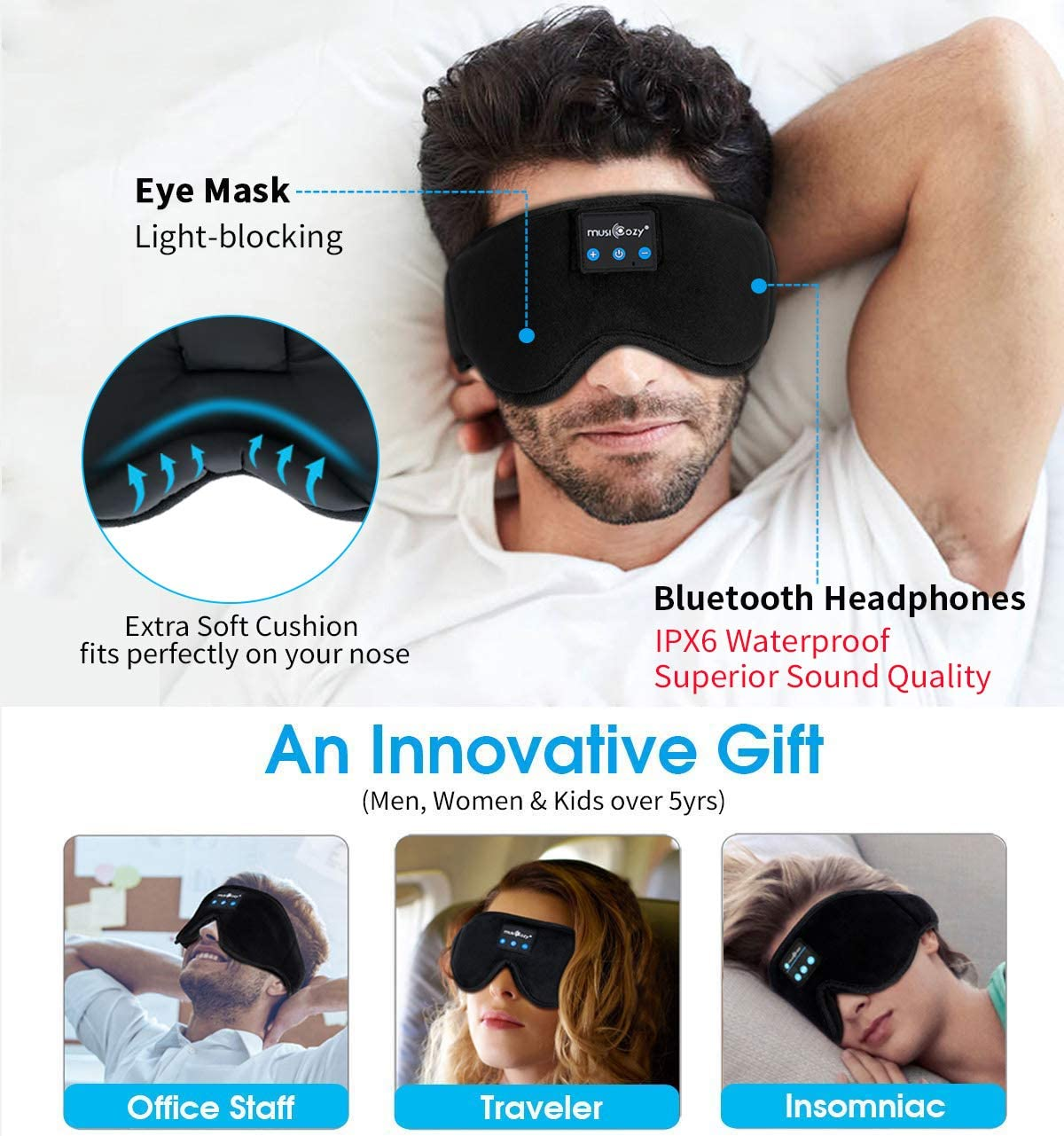 Eye Mask Ear Plug Set //Holder Bag* Sleeping Masks for Men /& Women Sleep