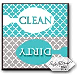Clean Dirty Dishwasher Magnet Sign for Dishes - Elegant Quatrefoil Moroccan Trellis Modern Pattern - AQUA BLUE / GREY - 2.5 x 2.5 - Housewarming, Bridal Registry & Gag Gift Idea Stocking Stuffers