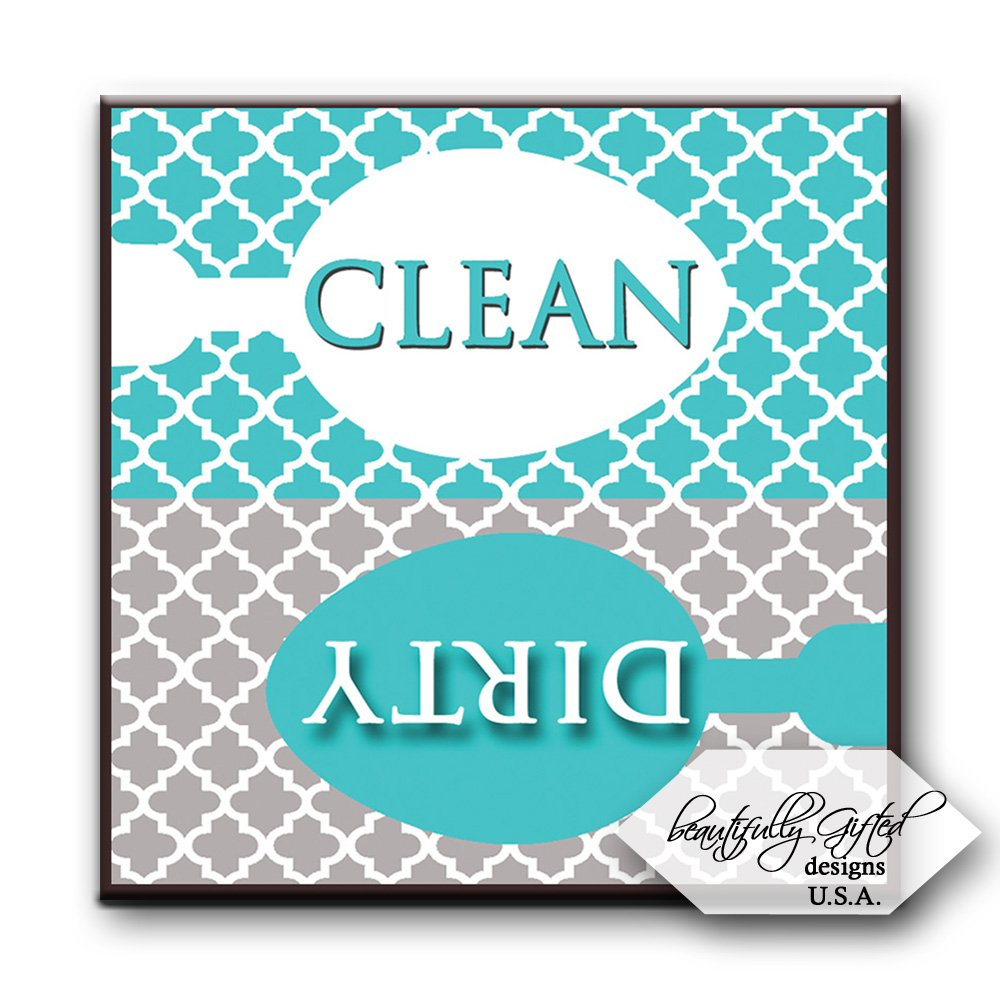 Clean Dirty Dishwasher Magnet Sign for Dishes - Elegant Quatrefoil Moroccan Trellis Modern Pattern - AQUA BLUE / GREY - 2.5 x 2.5 - Housewarming, Bridal Registry & Gag Gift Idea Stocking Stuffers by BeautifullyGifted
