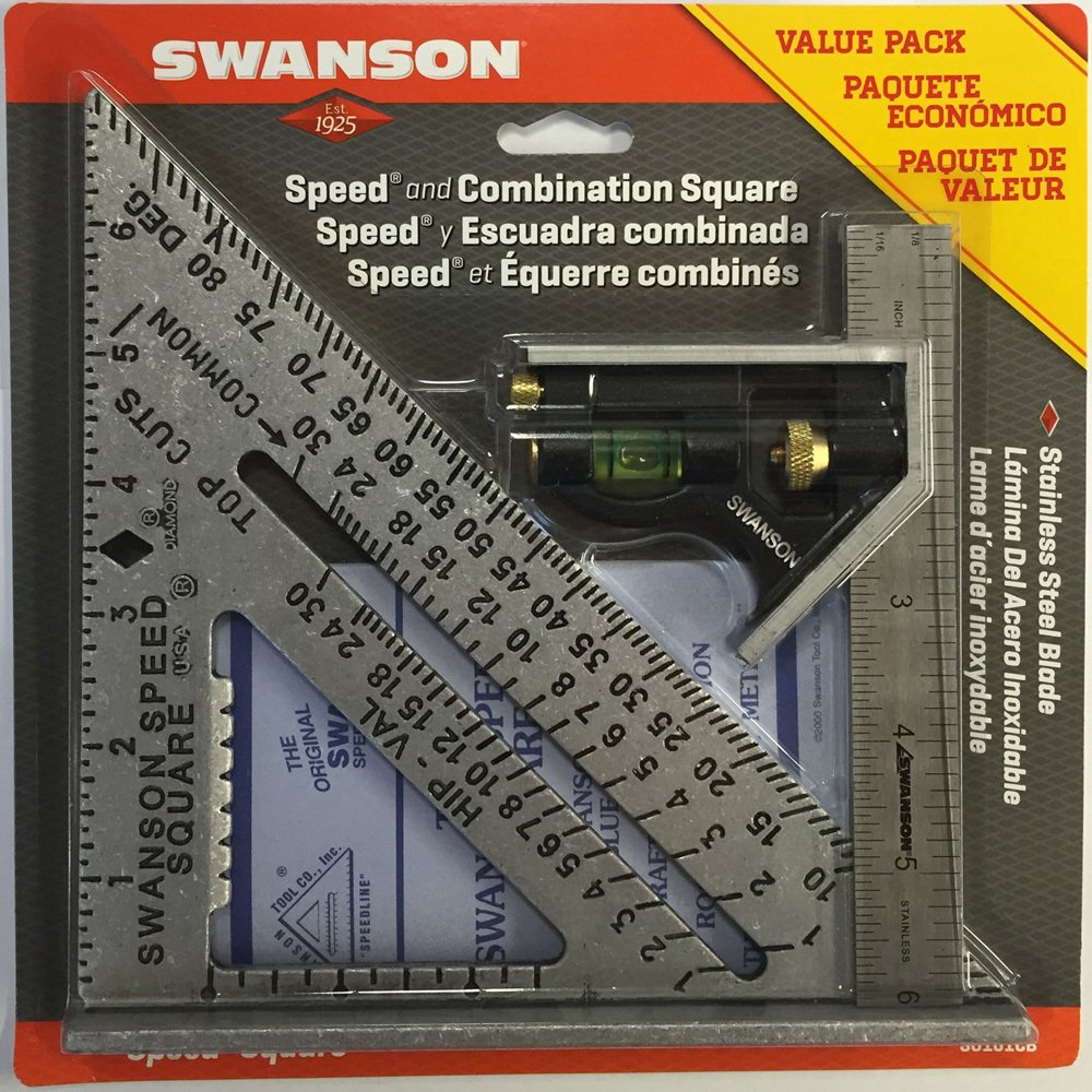 Swanson Tool S0101CB Speed Square Layout Tool with Blue Book and Combination Square Value Pack