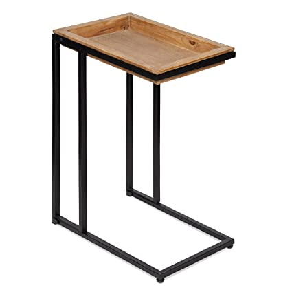 Marvelous Kate And Laurel Lockridge Industrial Modern Farmhouse Wood And Metal Sofa Foldable Side C Table Light Rustic Brown And Black Gmtry Best Dining Table And Chair Ideas Images Gmtryco