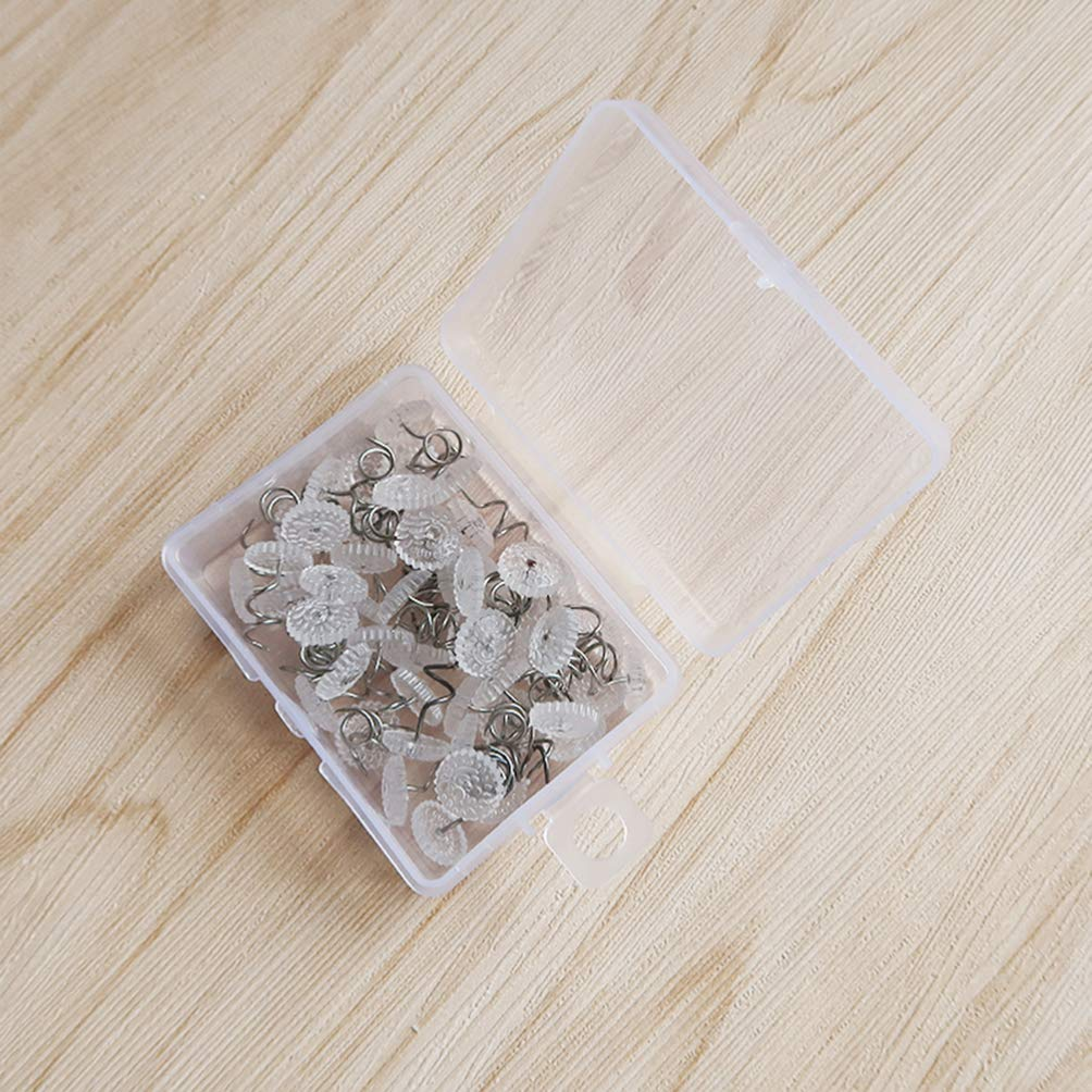 HEALLILY Twist Pins Upholstery Headliner Pins Clear Heads Slip Cover Fasteners for Sofa Car Van Home Furniture Skirt Holder 100pcs