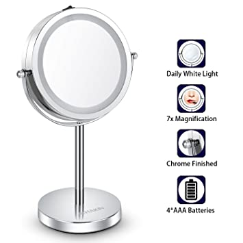 Kosmetikspiegel/LED mit/Licht 7X Schminkspiegel Beweglich Rasierspiegel 32CM H/öhe Edelstahl f/ür Kosmetik Rasur Bad Zuhause Wei/ß Licht 360/° Schwenkbar Badspiegel Batterie-Betrieb