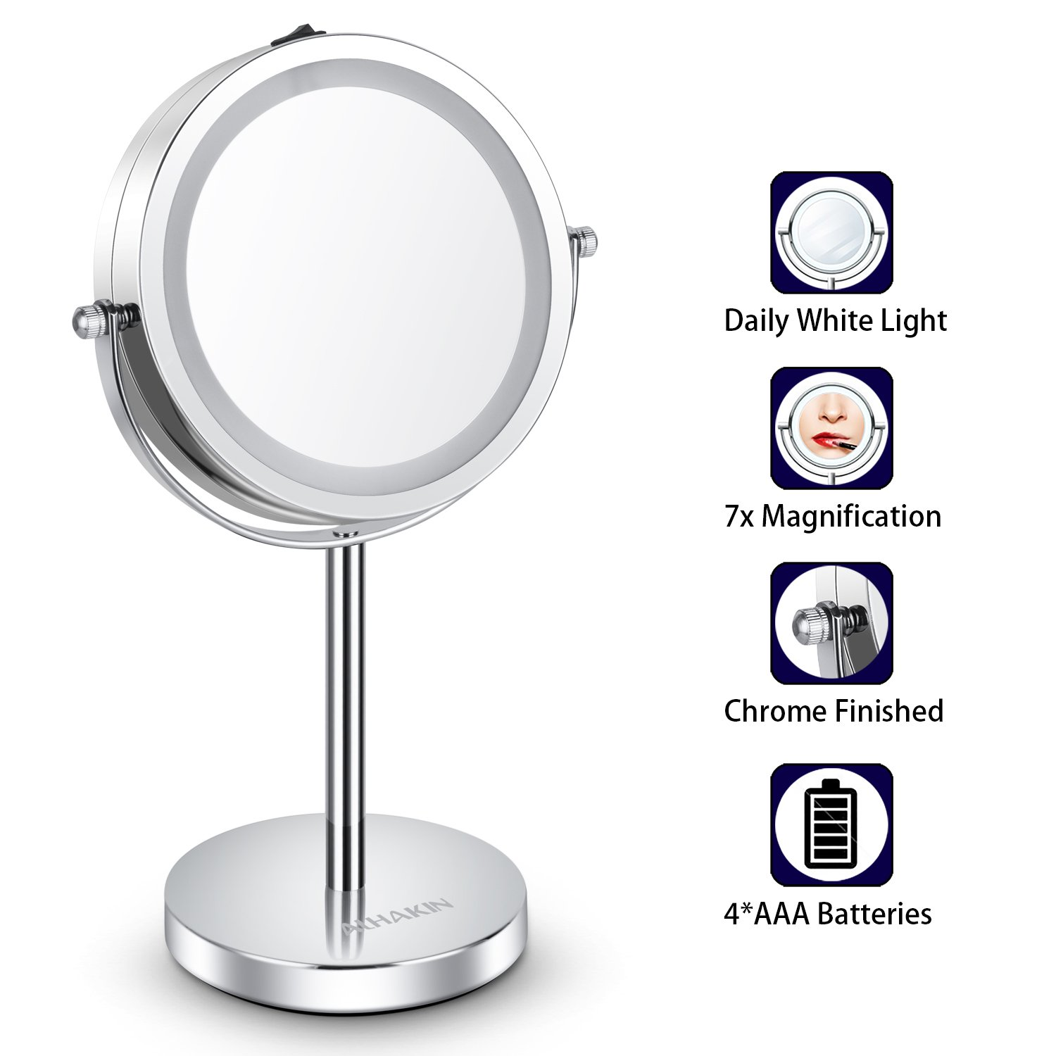 Lighted Makeup Mirror - 6'' LED Vanity Mirror 7x Magnification Double Sided Mirror Cosmetic Table Mirror Polished Chrome ALHAKIN