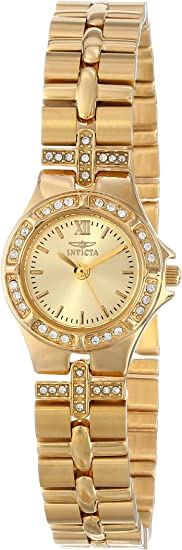 Invicta Women's Wildflower 21.5mm Crystal Accented Gold Tone Stainless Steel Quartz Watch, Silver (Model: 0134)