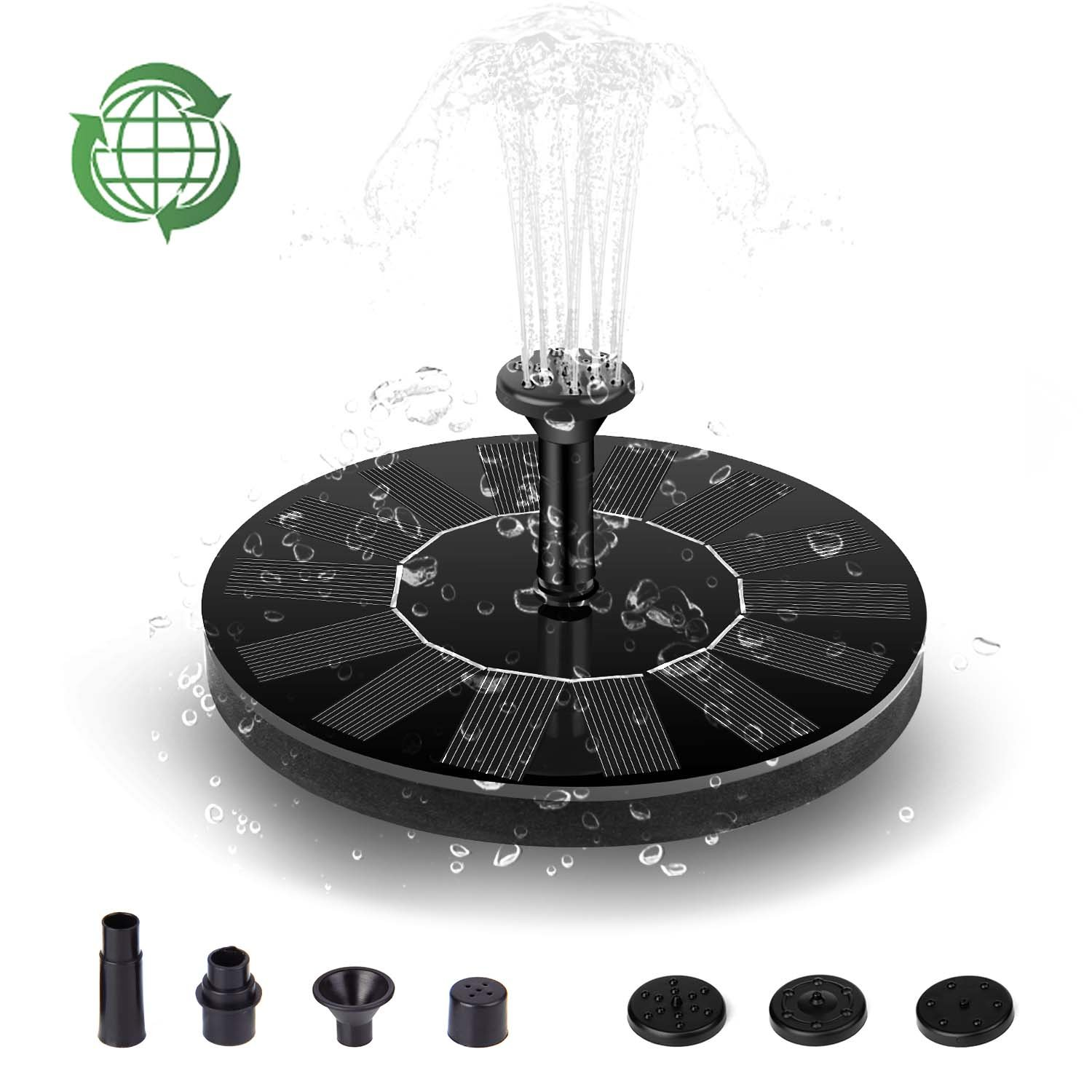 Usieka Upgraded Solar Fountain Pump, Solar Birdbath Fountain Pump 1.4W Free Standing Solar Powered fountain Pump Height Up to 39inches for Garden, Patio, Fish Tank Aquarium, Small Pond, Lawn