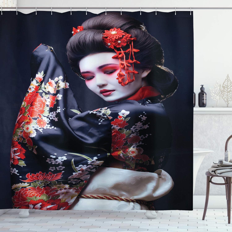 "Lunarable Japan Shower Curtain, Young Geisha in Kimono with Sakura Traditional Oriental Costume Makeup, Cloth Fabric Bathroom Decor Set with Hooks, 70"" Long, Black Cream"