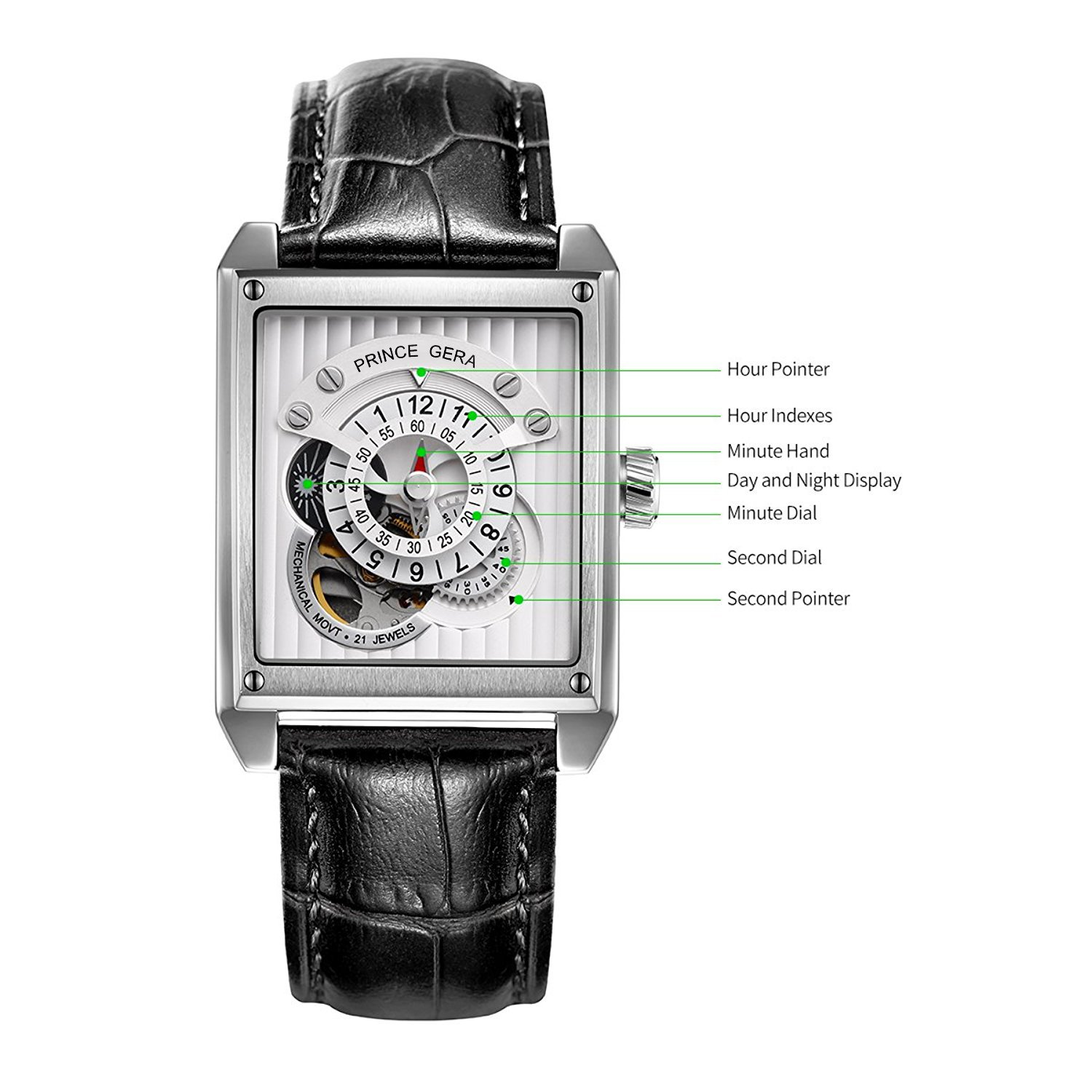 Amazon.com: PRINCE GERA Rectangle Silver Mens Automatic Watches Waterproof Skeleton Mechanical Watch: Watches