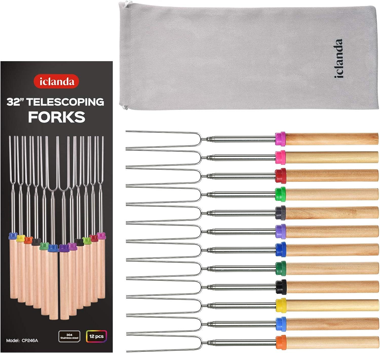 Challenge the lowest price of Japan iClanda Finally popular brand Marshmallow Roasting Sticks 12Pcs Stainless Steel Teles