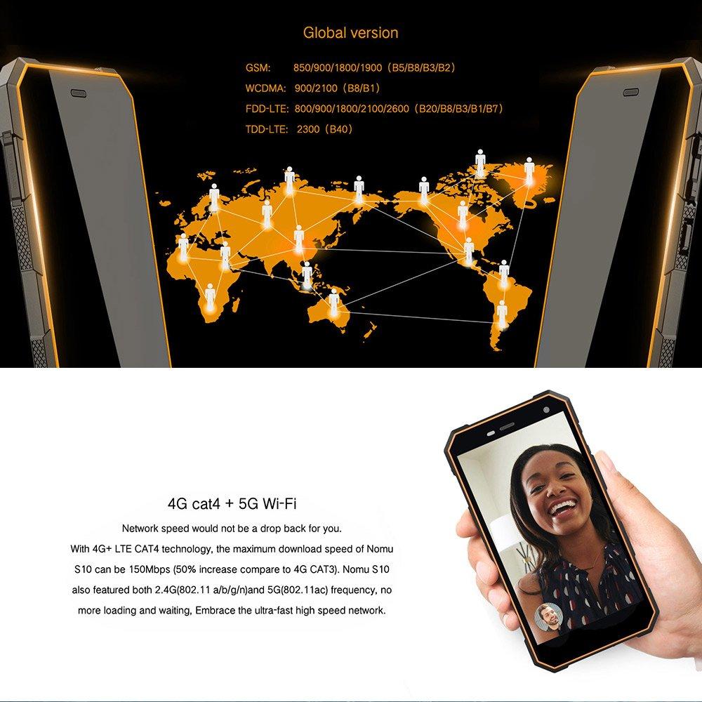 NOMU S10 Smartphone IP68 Impermeable Hifi MTK6737T 1,5GHz Quad ...