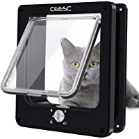 CEESC Cat Flap Doors, Magnetic Pet Door with Rotary 4 Way Lock for Cats, Kitties and Kittens, Upgraded Version